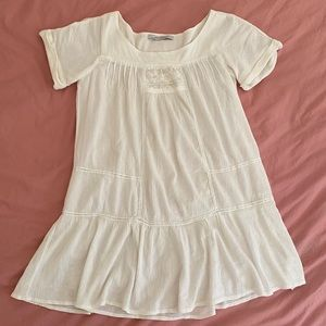Zara White Cotton Dress with Lace Embroidery XS